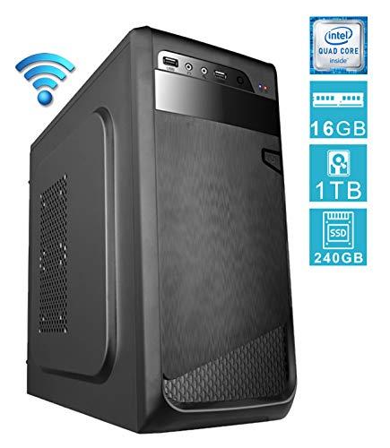 PC DESKTOP computer fisso • assemblato completo Intel QUAD-CORE 2.00 ghz • RAM 16gb • SSD 240gb + HDD 1tb • WIFI • WINDOWS 10 • DILC GREEN HIGH PLUS
