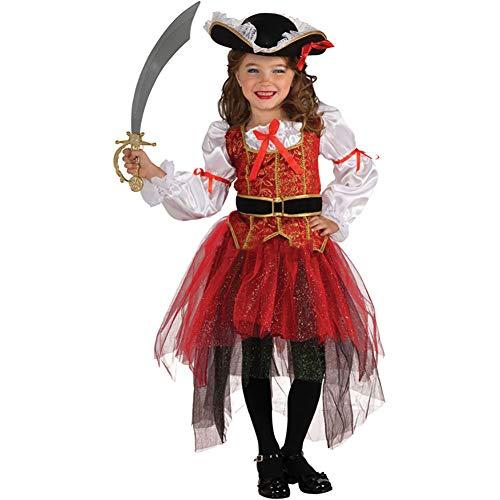 ROCK1ON Piratenkapitän Kleid Set für Mädchen, Kinder Halloween Karneval Rollenspiel Kostüm, Weihnachten Tanzparty, Cosplay Geschenk Geburtstag, Enthält Hut,Alter 4-12,M