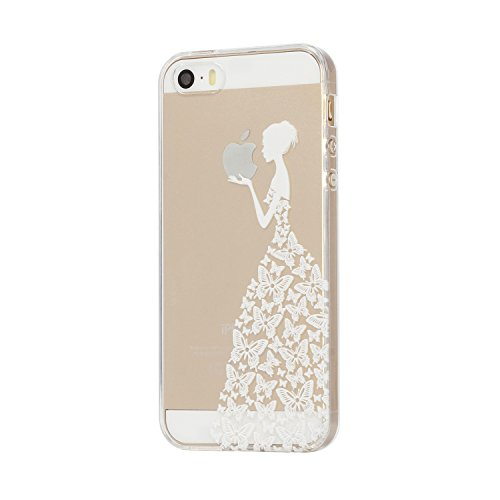 Für iPhone 4 4S Hülle Fall , IJIA Weiß Mädchen Schmetterling Weich TPU Case Durchsichtig Schutzhülle Silikon Crystal Transparent Cover Hülle für Apple iPhone 4 4S + 24K Gold Aufkleber (Fällen Iphone 4s)
