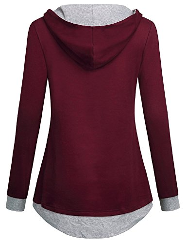 Ladies V Neck Long Sleeve Hoodie T-Shirt Crew Neck Rot-L