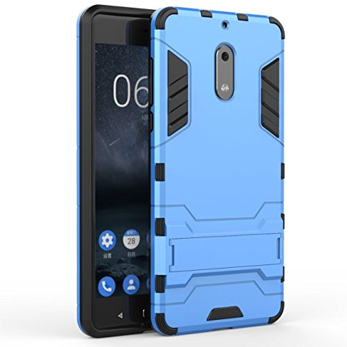YHUISEN Nokia 6 Case, 2 In 1 Iron Armour Tough Style Hybrid Dual Layer Armor Defender PC + TPU Schutzhülle mit Stand Shockproof Case für Nokia 6 ( Color : Gold ) Blue