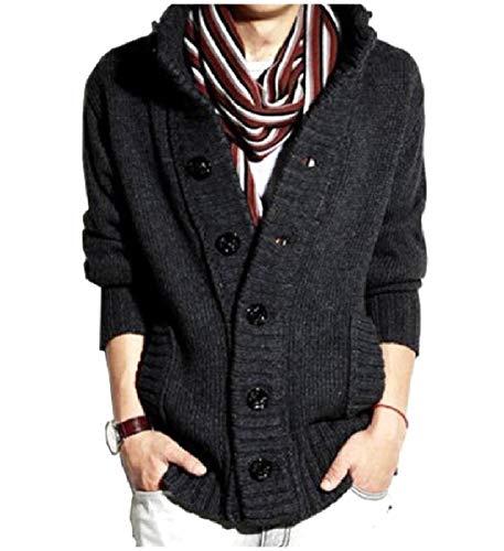 CuteRose Men's PEA Coat Stand Collar Slim Fit Single Breasted Cardigan Dark Grey S