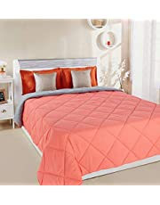 Amazon Brand - Solimo Microfibre Reversible Comforter, Double, Coral Red and Grey
