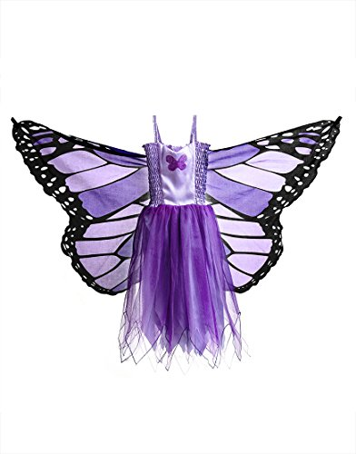 Schmetterling Kind Kostüm Monarch - Dreamy Dress-Ups 50900 Dress, Fly-Away-Kleidchen, Purple Monarch Butterfly, Schmetterling Monarchfalter Danaus plexippus, M 6-7 YRS