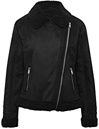 M&Co Teen Girl Black Long Sleeve Collar Silver-Toned Zip Fastening Faux Suede Shearling Lined Jacket