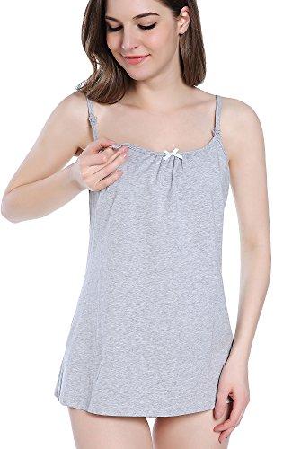 Intimate Portal Damen Baumwoll-Basics Schwangerschafts-/Still-Hemd mit Hakenverschluss Grau/Gestreift 2 Stück
