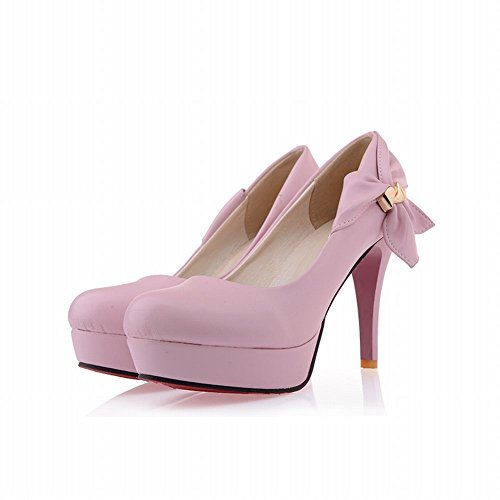 Mee Shoes Damen mit Schleife runde Plateau high heels Pumps Pink