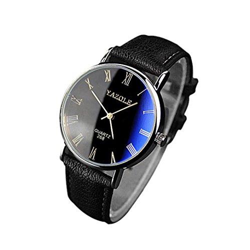 Genossen Luxus-Mode Kunstleder Herren Blue Ray Glas Quartz Analog UhrenUnisex Edelstahl Armbanduhr Damen und Herren analog I Herrenuhr - Damenuhr elegant, sportlich LANSKIRT (❤️Schwarz) -