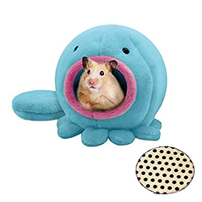 Emours Cute Octopus Design Warm Plush Winter Hamster Mice House Cage Hanging Bed Hammock with Extra Bed Mat (pink) 1