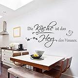 Wandschnörkel ®HM~AA068 Wandtattoo Spruch Wandaufkleber ++ Die Küche ist das HERZ des Hauses ++ Aufkleber ++viele Farben und Größen++