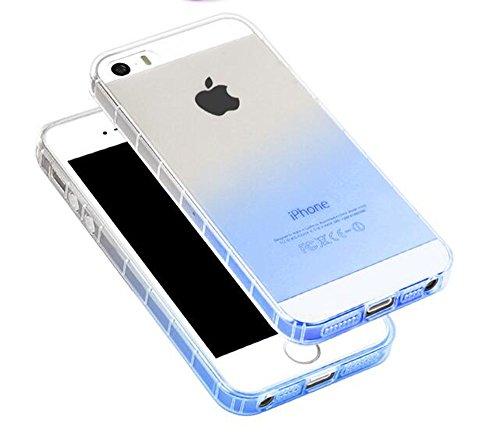 Nnopbeclik [Coque Iphone SE Silicone / Coque Iphone 5S Transparente / Coque Iphone 5 Apple] Dégradé de Couleur Style Soft/Doux Transparente Backcover Housse pour Iphone 5 Coque anti choc / Iphone 5S C bleu