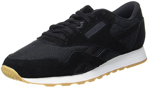 Reebok Herren Classic Nylon HS Sneaker, Schwarz (Black/White-Gum), 41 EU (Vintage Nylon White)