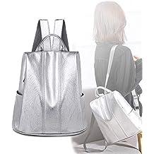 LUGUMU Mochila Las Mujeres De Cuero Bolsa Antirrobo Paquete De Ocio y Viaje Messenger Bag Backpack