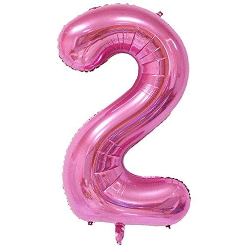 YOGINGO 40 Zoll Aufblasbare Große Anzahl Ballons Digit Folie Geburtstag Hochzeit Party Dekoration Nummer - Rosa 2