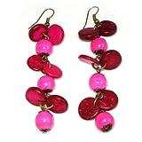 Realizzata a mano orecchini Idin–rosa di dischetti di legno e perline lampadario orecchini (ca. 8cm)
