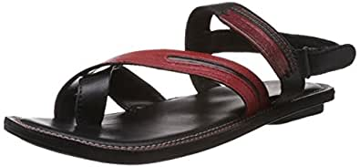 Alberto Torresi Men's Black and Red Sandals and Floaters - 6 UK