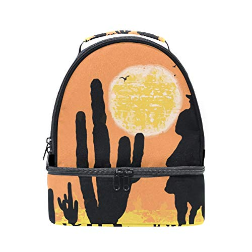 64da9ada850e Cactus Cowboys On Desert Lunch Bag Insulated Lunch Box Picnic Bag School  Cooler Bag for Men Women Kids