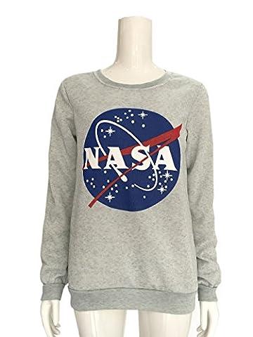 COCO clothing Herbst-Winter Damen Oldschool Grau NASA Bedrucktes Lange Ärmel Pullover College Sweater Rundkragen Frauen Casual Sport Pulli Jumper Sweatshirt