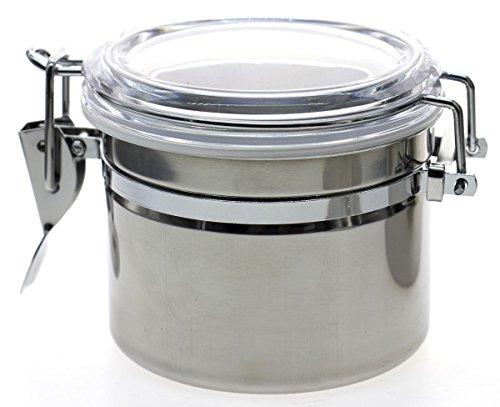 Frischhaltedose mit transparentem Deckel aus Edelstahl, für Lebensmittel, Salz, Olio, Durchmesser 10 cm 7.4 CM silber/schwarz