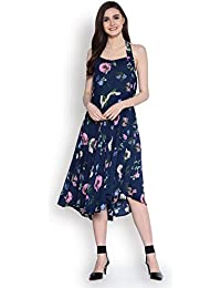 Abiti Bella Women's Indigo Fit and Flare Woven Dress