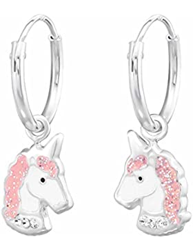 SL-Silver Ohrringe Creolen elegantes Einhorn mit Kristall und Glitzer 925 Sterling Silber in Geschenkbox