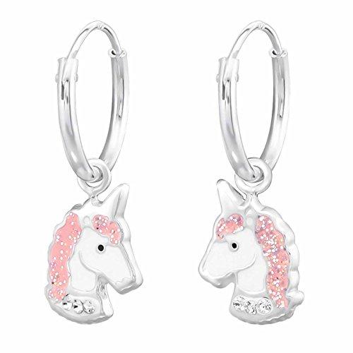 Ohrringe Creolen elegantes Einhorn mit Kristall und Glitzer 925 Sterling Silber in Geschenkbox