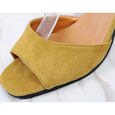 LvYuan Da donna Sandali PU (Poliuretano) Estate Footing Perle A stiletto Nero Grigio Giallo 5 - 7 cm Black