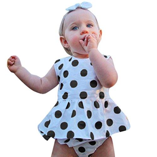 d Kinder Baby Prinzessin Kleid,Punkte Drucken Tutu Maxikleid Mit Hose Set Outfits Partykleid Sommerkleid Strandkleid Ärmellos Cocktailkleid Tüllkleid (70, Weiß) (Mädchen Mit Langem Kleid)