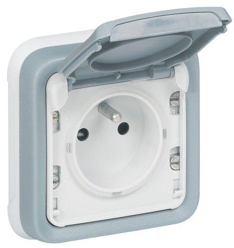 Legrand Plexo LEG69986 - Base de enchufe (con toma de tierra, con tapa de protección, de empotrar), color gris
