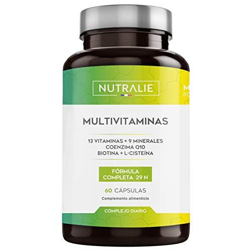 Multivitaminas 29 Nutrientes Esenciales | Vitaminas A, B, C, D, E, K, Biotina, L-cisteína, Coenzima Q10 y 9 Minerales | Complejo Multivitamínico 60 Cápsulas | Nutralie
