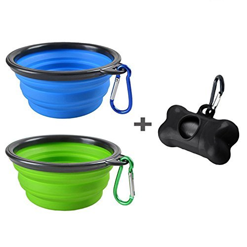 MOGOCO 2 Pack Portable Collapsible Dog Bowl,Food Grade Silicone BPA Free,Foldable Travel Bowl Dish for Pet Dog Cat Food Water Feeding,Including Black Dog Poop Bag Holder Dispenser,Blue and Green
