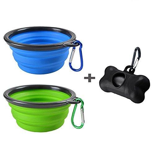 Mogoco - Juego de 2 cuencos plegables para perro, de silicona de grado alimenticio, sin BPA, plegables, para comida de mascotas, perros, gatos, alimentos, agua, incluye dispensador de bolsas negras, azul y verde