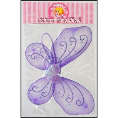 Kinder Schmetterlingsflügel, LILA, zum Umschnallen, mit Herz und Glitzer, Karneval, Fasching, Kostüm