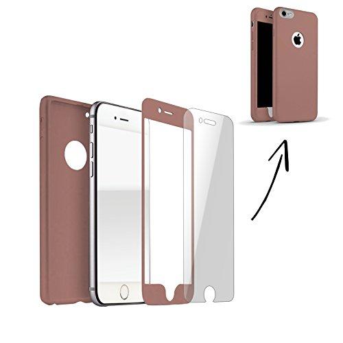 FINOO | Iphone 7 360 ° Komplettschutz Handy-Hülle Vorne Hinten TPU Silikon | Rundum-schutz Stoßfest Full Cover Body Slim | Ultra Dünn Protector Back Cover Schutz Case Tasche | Rose Gold