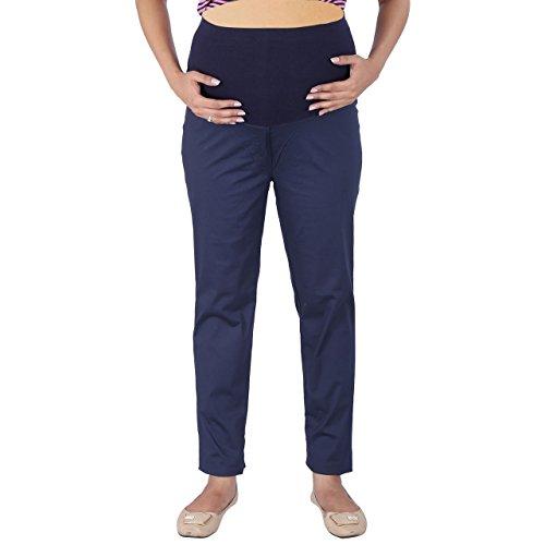 MomToBe Women's Cotton Maternity Trouser, Navy Blue