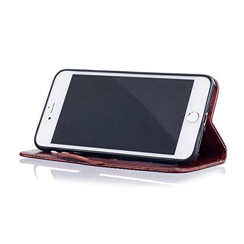 Etsue iPhone 7 Plus Coque, iPhone 7 Plus Housse,iPhone 7 Plus Portefeuille Coque ,Gaufrure Folio Luxe 3D en PU Cuir Gravée en Relief du Fleur Motif Protecteur Coquilles Bumper pour iPhone 7 Plus Etui  Rouge foncé