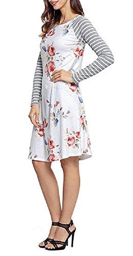 Walant Damen Blumen Streifen Langarm Rundhals Kleider Lose Sommerkleid Strandkleid Niedlich A-Linie Kleid Größe S-3XL Weiß