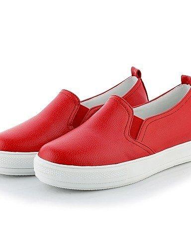 Shangyi Gyht Chaussures Femme-mocassins-décontracté-rounded Toe-plateau-fake Cuir-noir / Rouge / Blanc Rouge