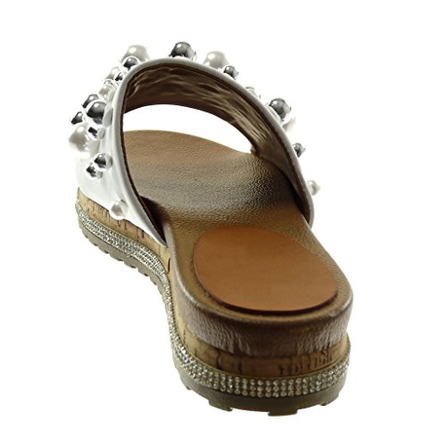 Angkorly Chaussure Mode Sandale Mule Slip-On Plateforme Femme Perle Bijoux Strass Diamant Talon Compensé 3.5 cm Blanc