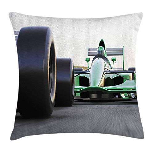 ZHIZIQIU Cars Throw Pillow Cushion Cover by, Motorized Sports Theme Indy Cars on Asphalt Road with Motion Blur Formula Race, Decorative Square Accent Pillow Case, 18 X 18 Inches, Grey Black Green -