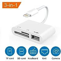 SD-Kartenleser, 3in 1Lightning zu USB3Kamera Adapter & Speicherkarte SD/TF Kartenleser für iPhone iPad, keine App nötig [unterstützt IOS 11oder bis]