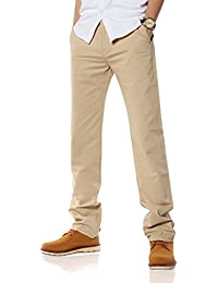 Demon&Hunter Hommes mâle Coupe Regular kaki clair Chino Pantalon S90L3