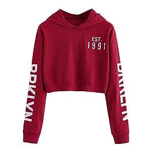 SMILEQ Mädchen Frauen Buchstaben Langarm Hoodie Sweatshirt Pullover Tops Bluse