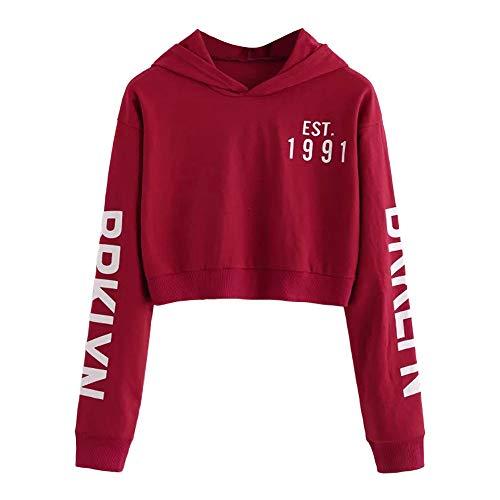 iHENGH Sweatshirt Damen,Women Herbst Winter Letters Long Sleeve Hoodie Sweatshirt Pullover Tops Blouse Shirt ()