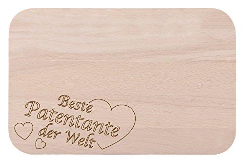 """Frühstücksbrettchen / Frühstücksbrett mit Gravur """"Beste Patentante der Welt"""" als Geschenk - aus Holz - Geschenkidee ideal zum Geburtstag oder zu Weihnachten"""