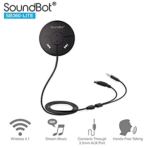 SoundBot SB360 LITE Bluetooth Wireless 4.0 Car Kit Hands-Free Wireless Talking & Music Streaming Dongle w/ Magnetic Mounts + Built-in 3.5mm Aux Cable
