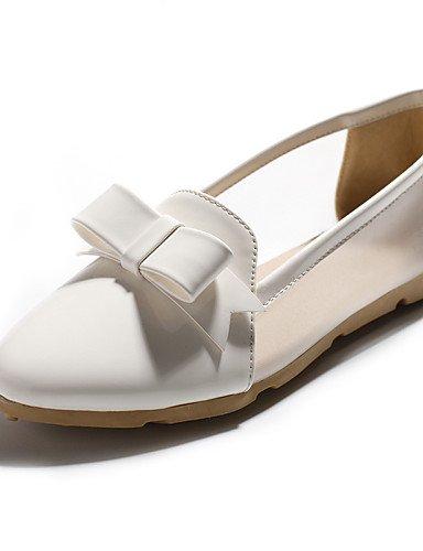 ZQ gyht Damenschuhe-Ballerinas-L?ssig-Kunstleder-Flacher Absatz-Komfort / Spitzschuh-Schwarz / Rosa / Wei? white-us6.5-7 / eu37 / uk4.5-5 / cn37