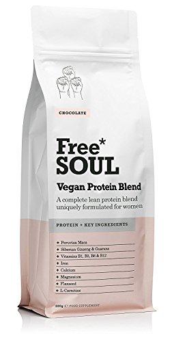Free Soul Vegan Protein / Veganes Proteinpulver - speziell für Frauen - Erbsen & Hanf Protein - unterstützt Hormonhaushalt, Stimmung, Energie - Schokolade (600g) (B-komplex-vitamine Lebensmittel-wissenschaft)