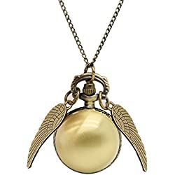 BestFire Pocket Watch Flying Ball Angel Wings Chain Necklace Golden Snitch Golden Wing Pendant