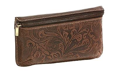 LEAS Sac banane flower pattern, cuir véritable, marron Vintage-Collection''